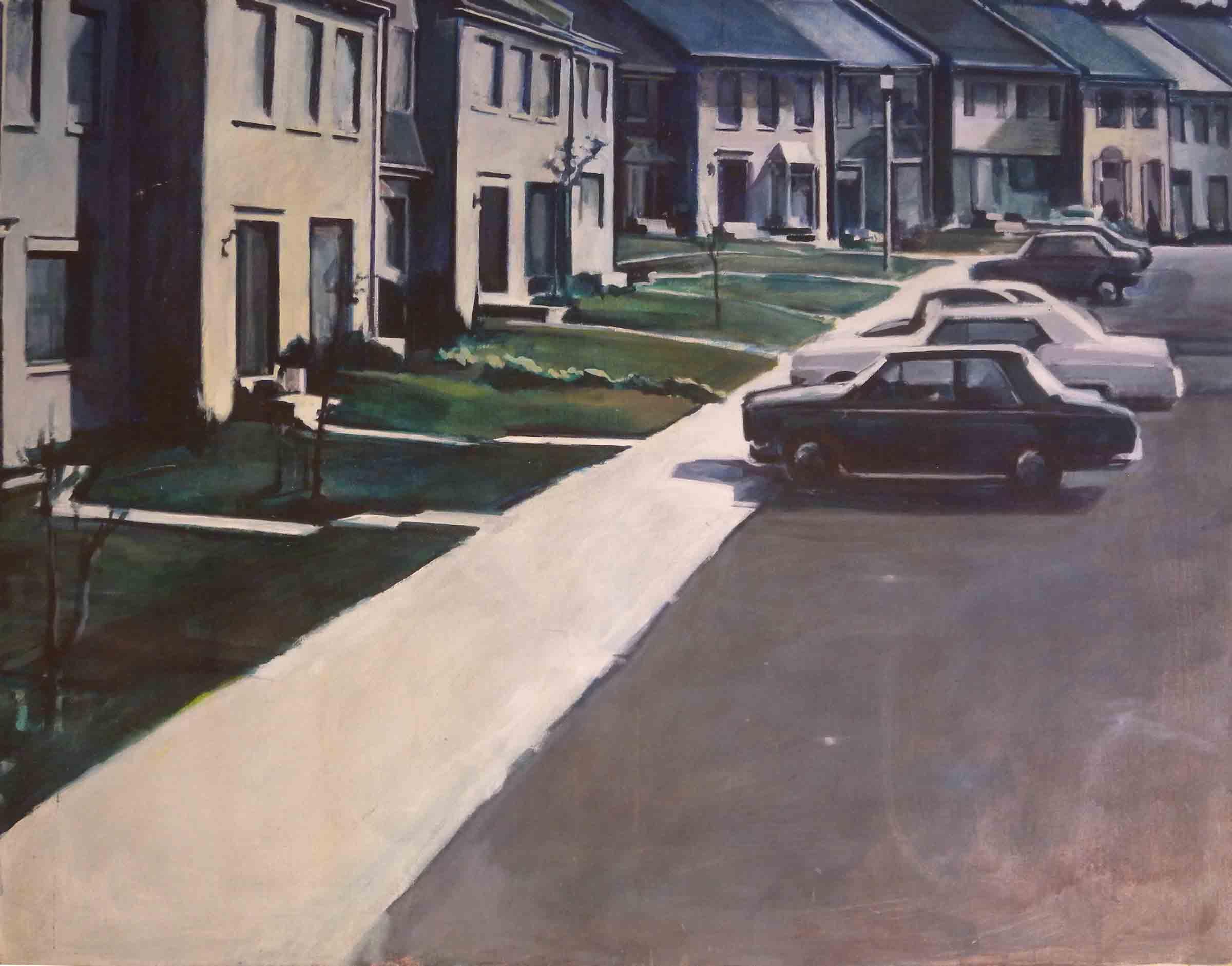 """Suburban Townhouses, acrylic on canvas, 42"""" x 54 1/2"""""""