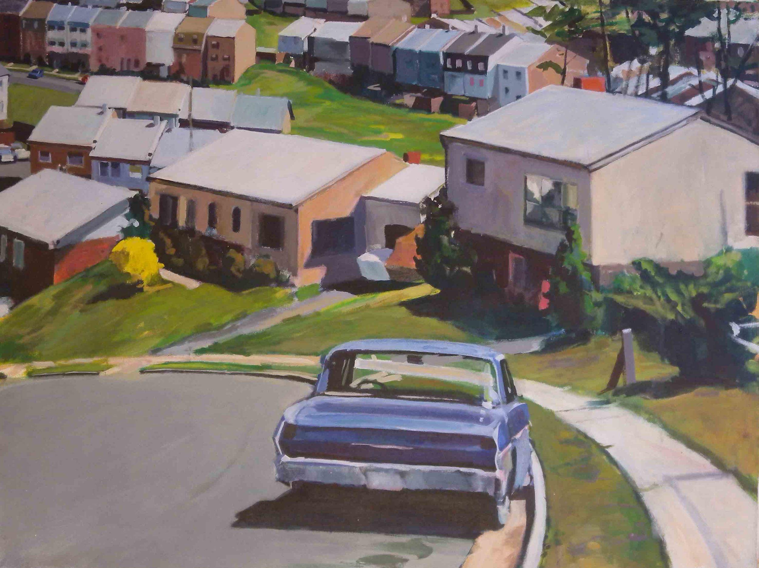 """Dale City Blue Car, acrylic on canvas, 29"""" x 38 1/2"""""""