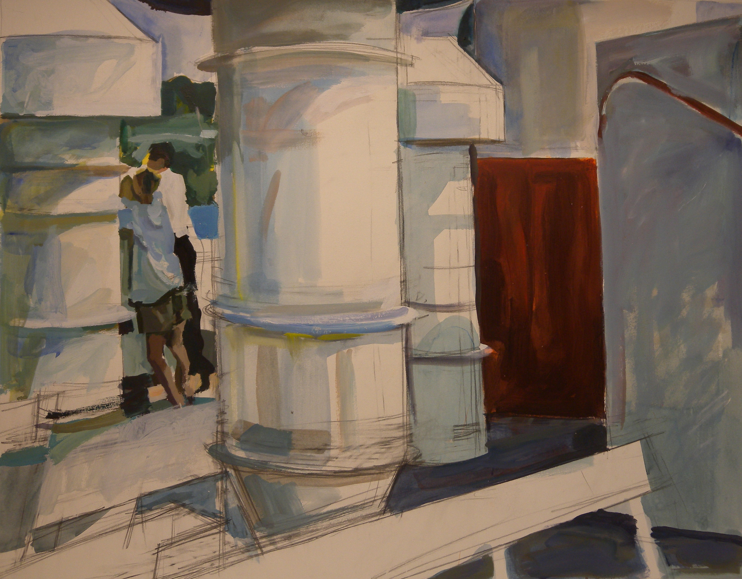 "Ferry Deck, Two Passengers (unfinished), acrylic on paper, 27"" x 35"" On Exhibit, Addison/Ripley Fine Art, DC"