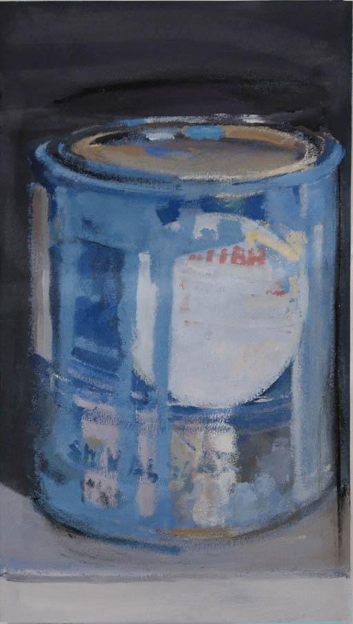 """Paint Can Blue Singleton, acrylic on canvas on bars, 21"""" x 11 1/4"""""""