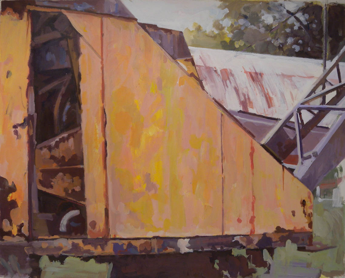 "Boatyard Crane & Quonset Hut, acrylic on paper, 28"" x 35"""