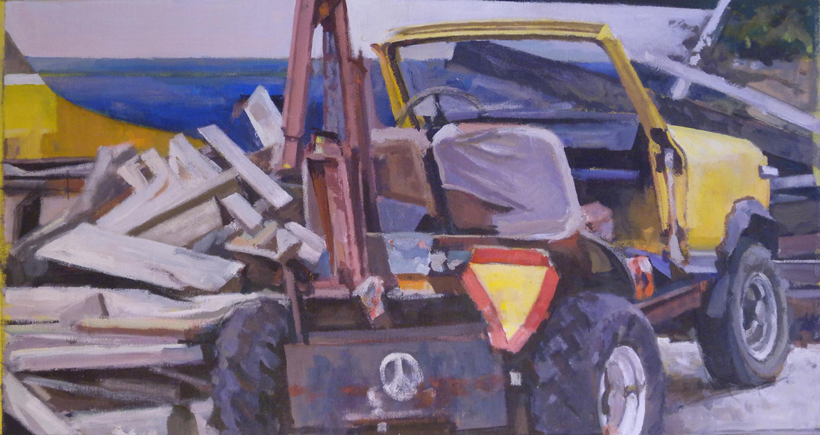 "Yellow Jeep & Boatyard, acrylic on canvas, 19"" x 35 1/2"""