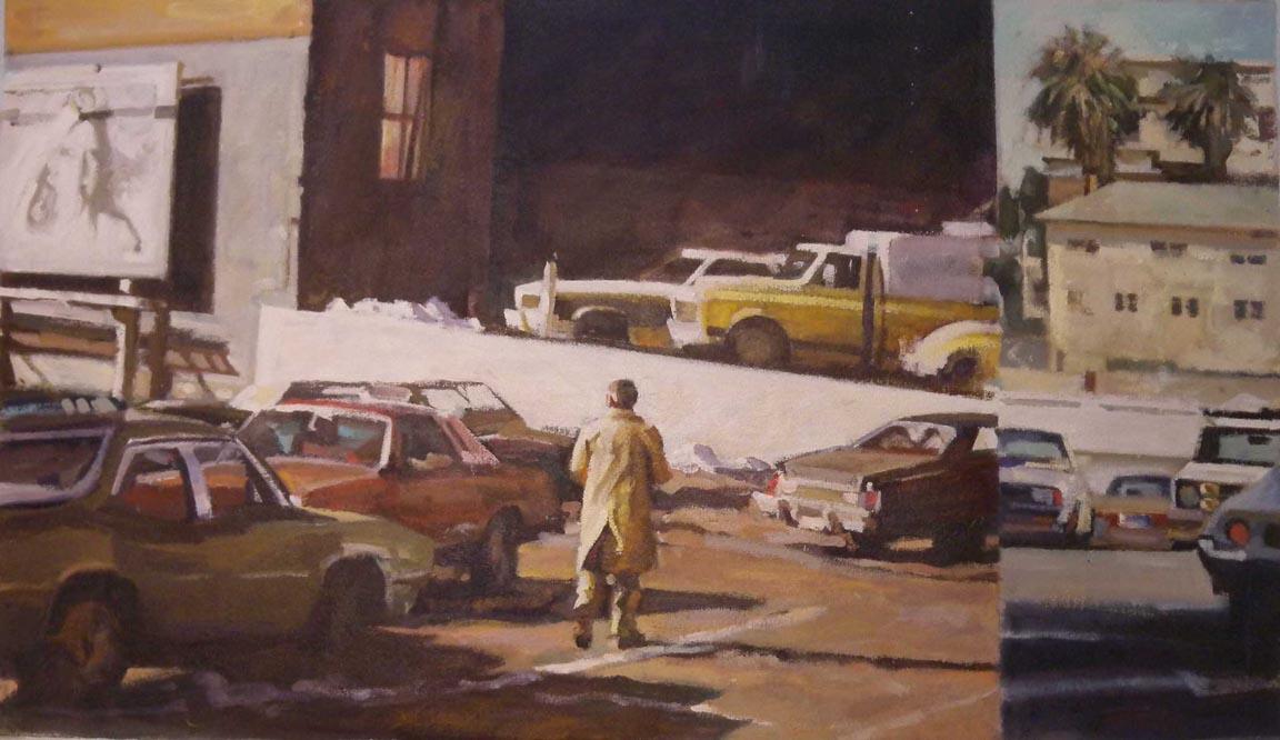 "Trench Coat Billboard Split, acrylic on canvas, 21 1/2"" x 37"""