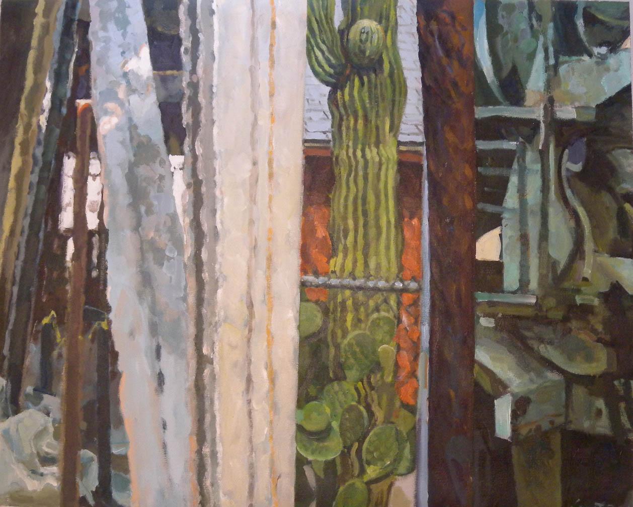 "Cactus Three Splits, acrylic on canvas, 32"" x 40"""