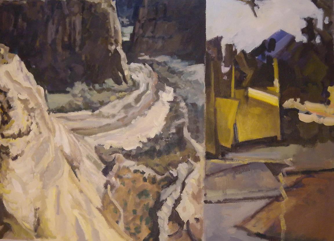 "Canyon & Construction Split, acrylic on canvas, 26 1/2"" x 36 1/2"""