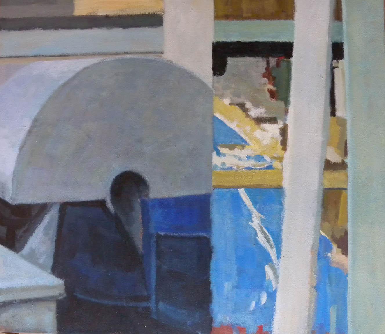 "Half Dome Split, acrylic on canvas on bars, 25 1/2"" x 29"""