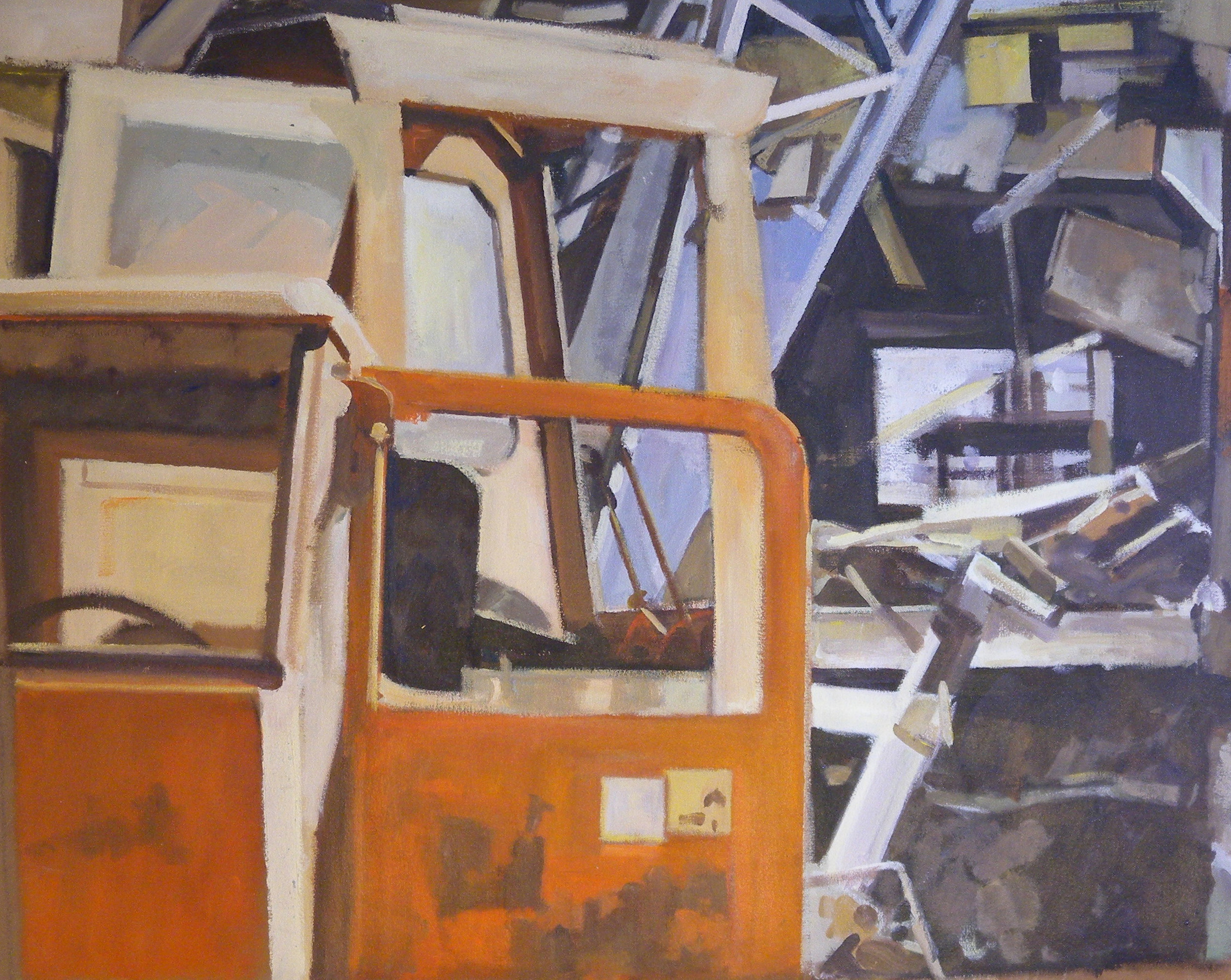 """Orange Cab and Demolition Split, acrylic on canvas, 30 1/2"""" x 38"""". Private Collection."""