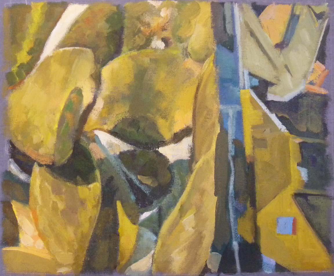 """Cactus Split Blue Edge, acrylic on canvas on bars, 14 1/4"""" x 16 3/4"""""""