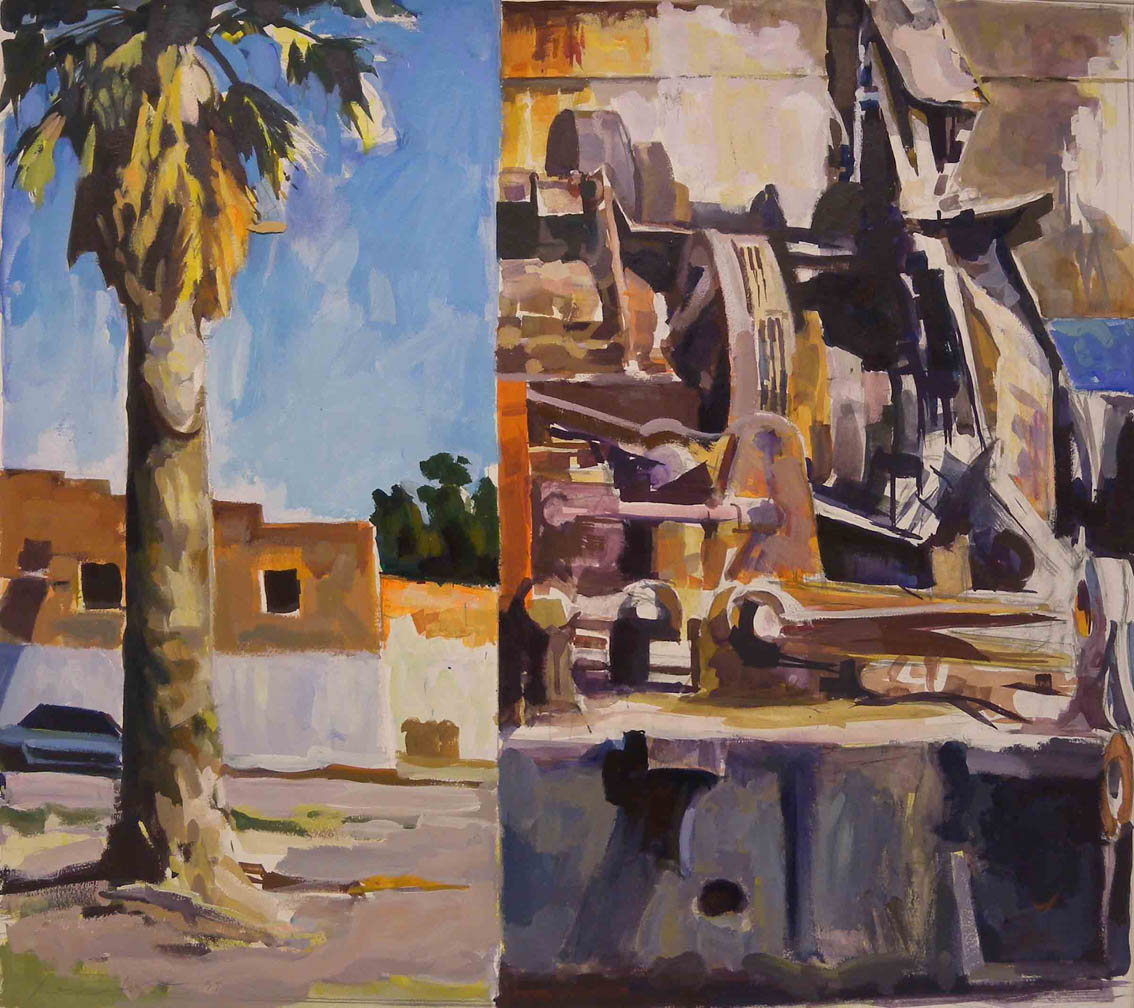 """Palm Tree & Machine Split, acrylic on paper, 26 1/2"""" x 29 3/4"""", 1997"""