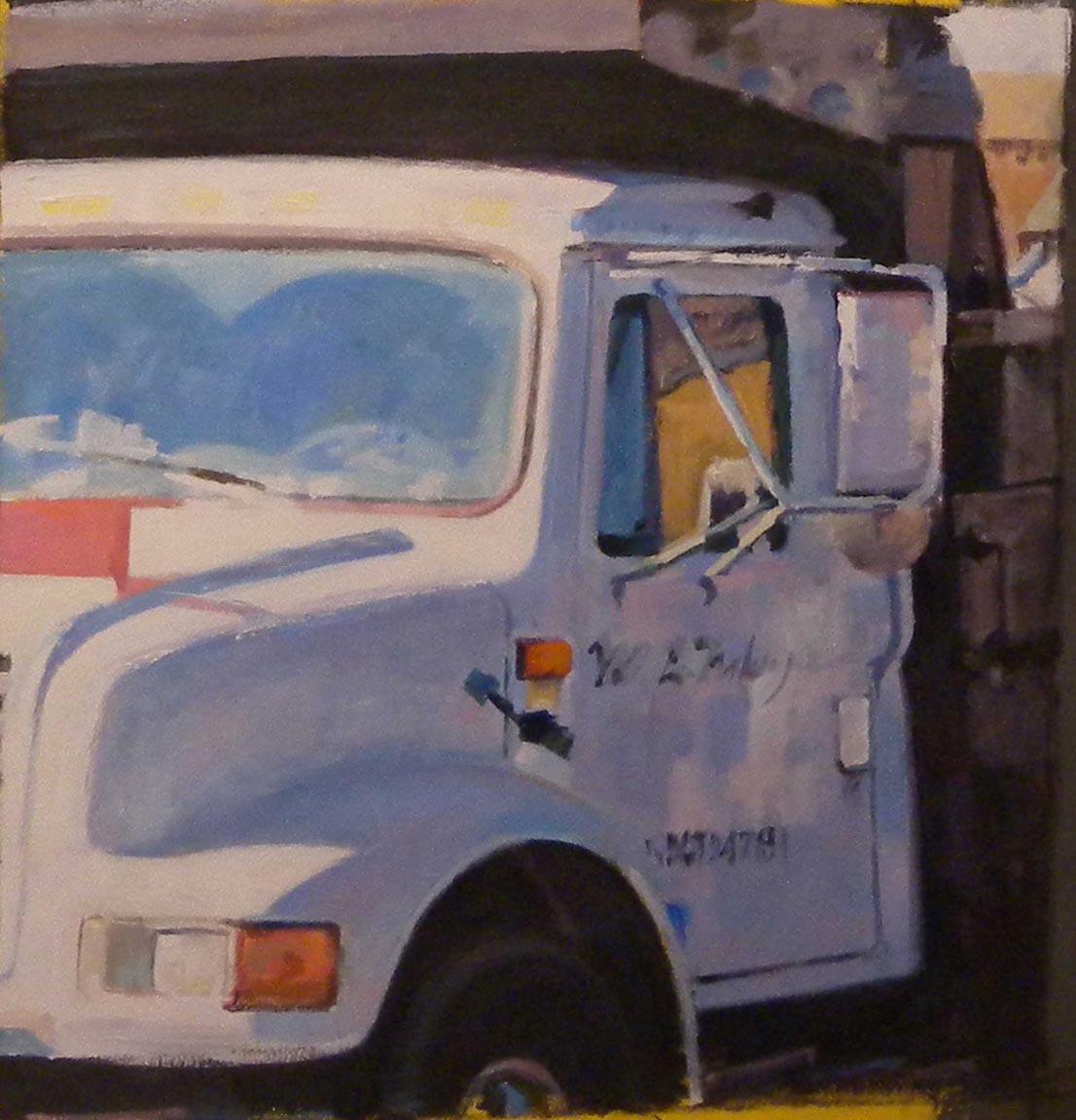 "White Truck, Purple Reflection, acrylic on canvas,24"" x 23 1/2"""