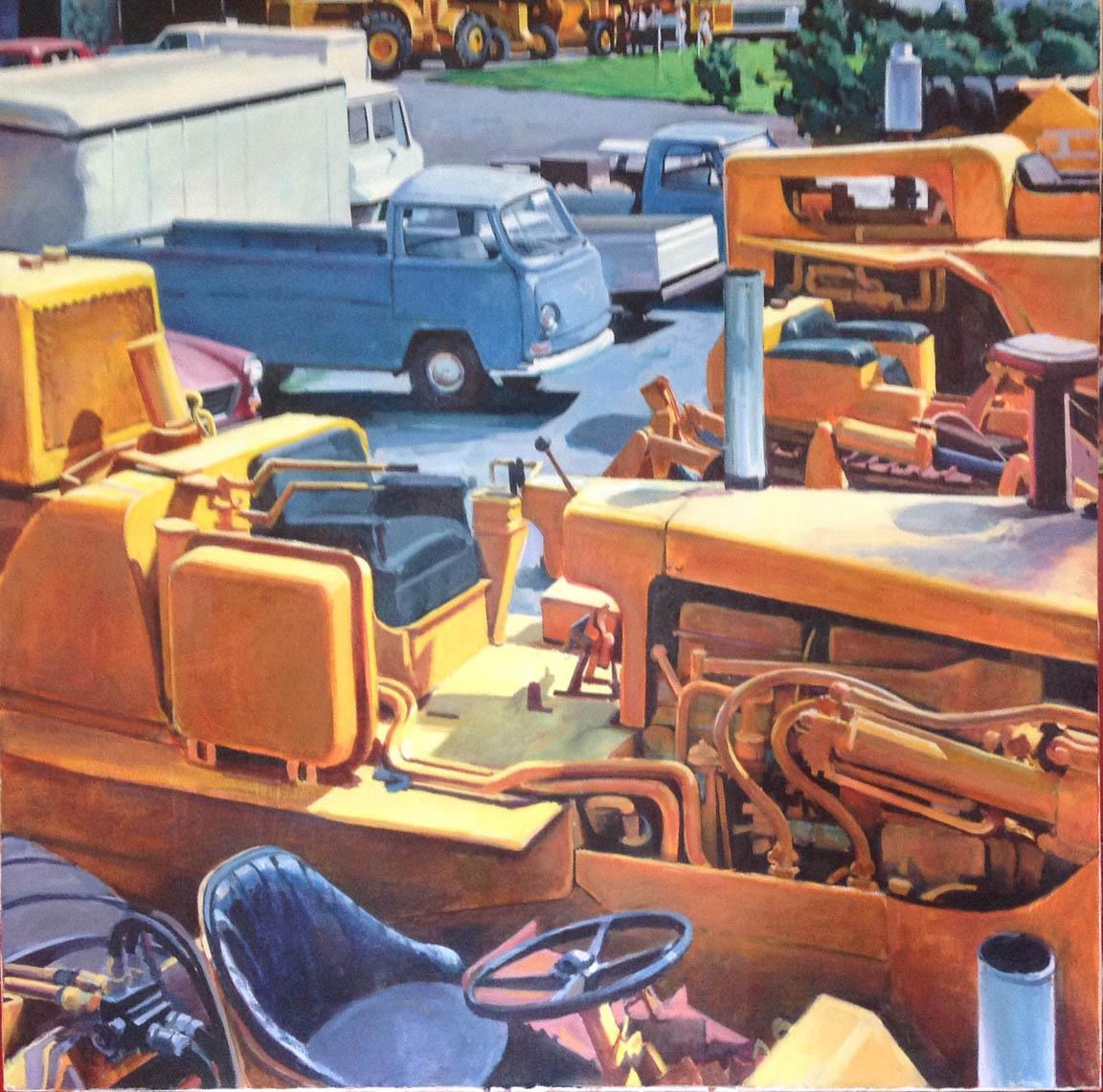 "Tractors & VW Truck, acrylic on canvas, 41"" x 41"""