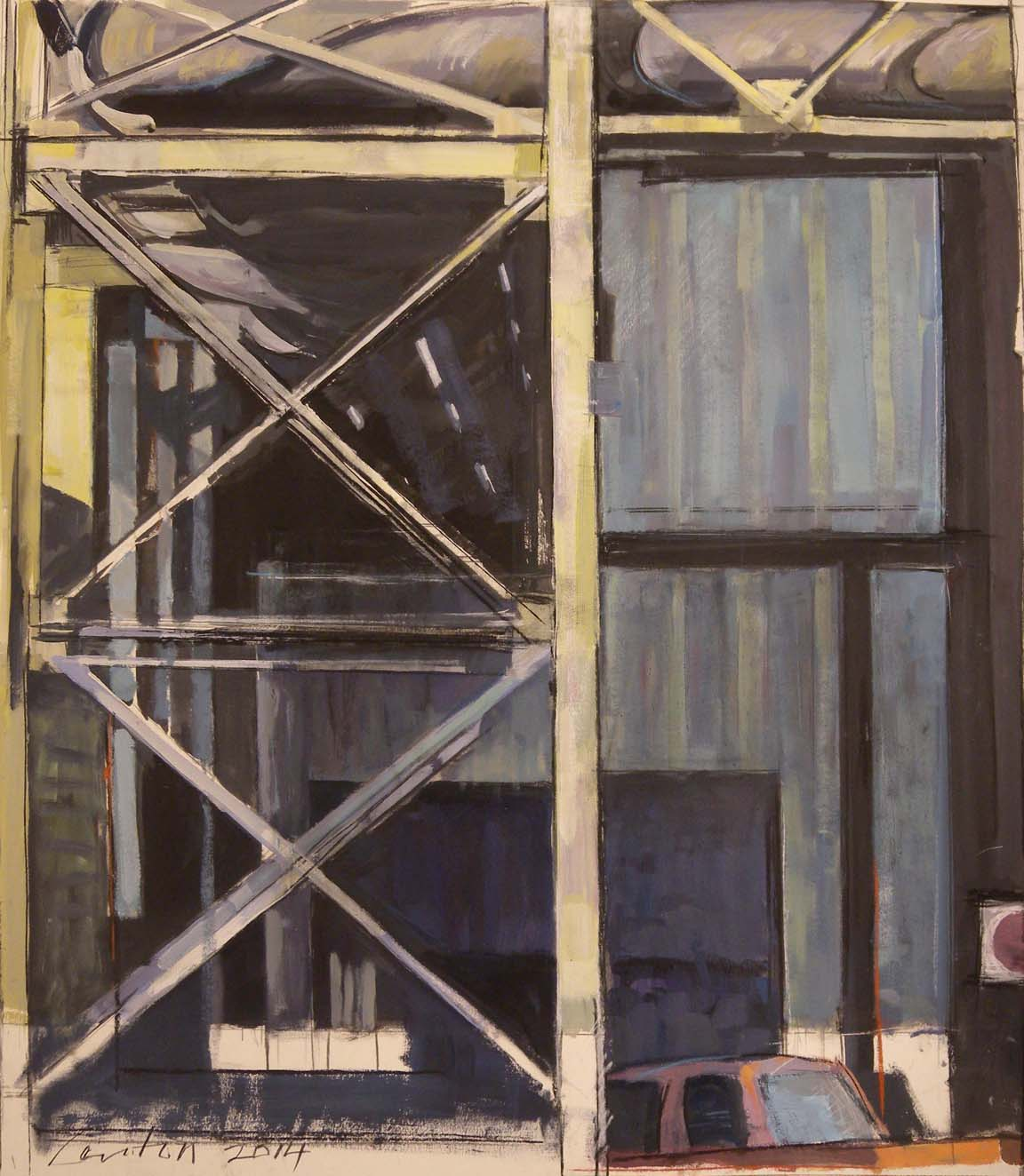 """Girder & Truck, acrylic, gouache & charcoal on paper, 31"""" x 26 3/4"""", 2014, Private Collection"""