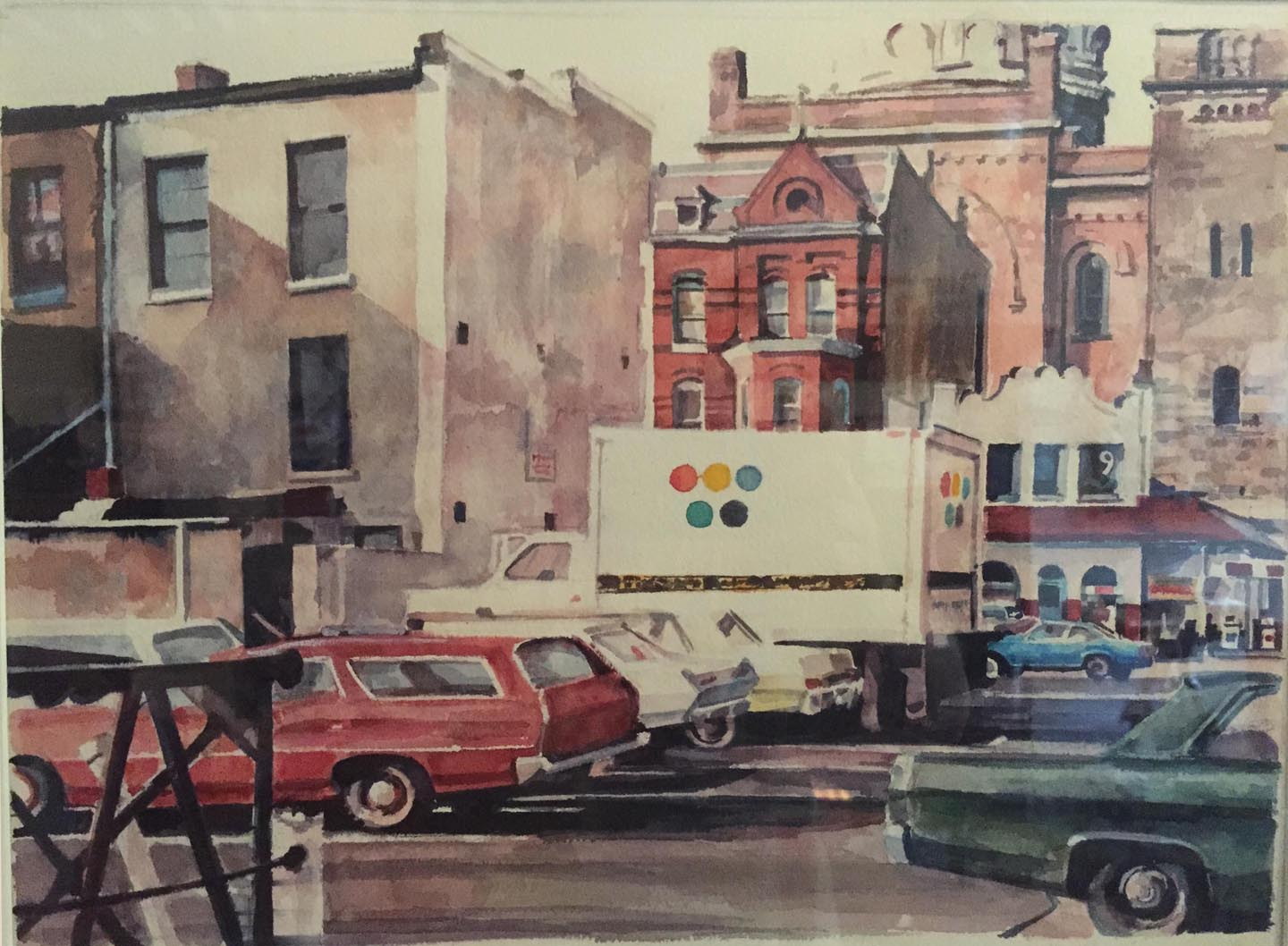 """Print Truck,watercolor on paper,11 1/2"""" x 15"""", 1980, Private Collection"""