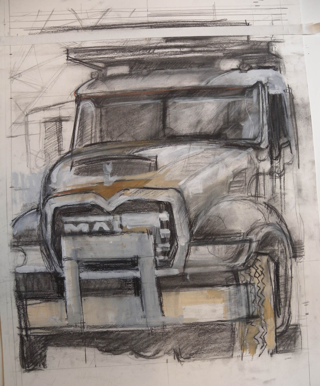 """White Truck (unfinished), charcoal & acrylic on paper, 23 1/2"""" x 20 1/2"""""""