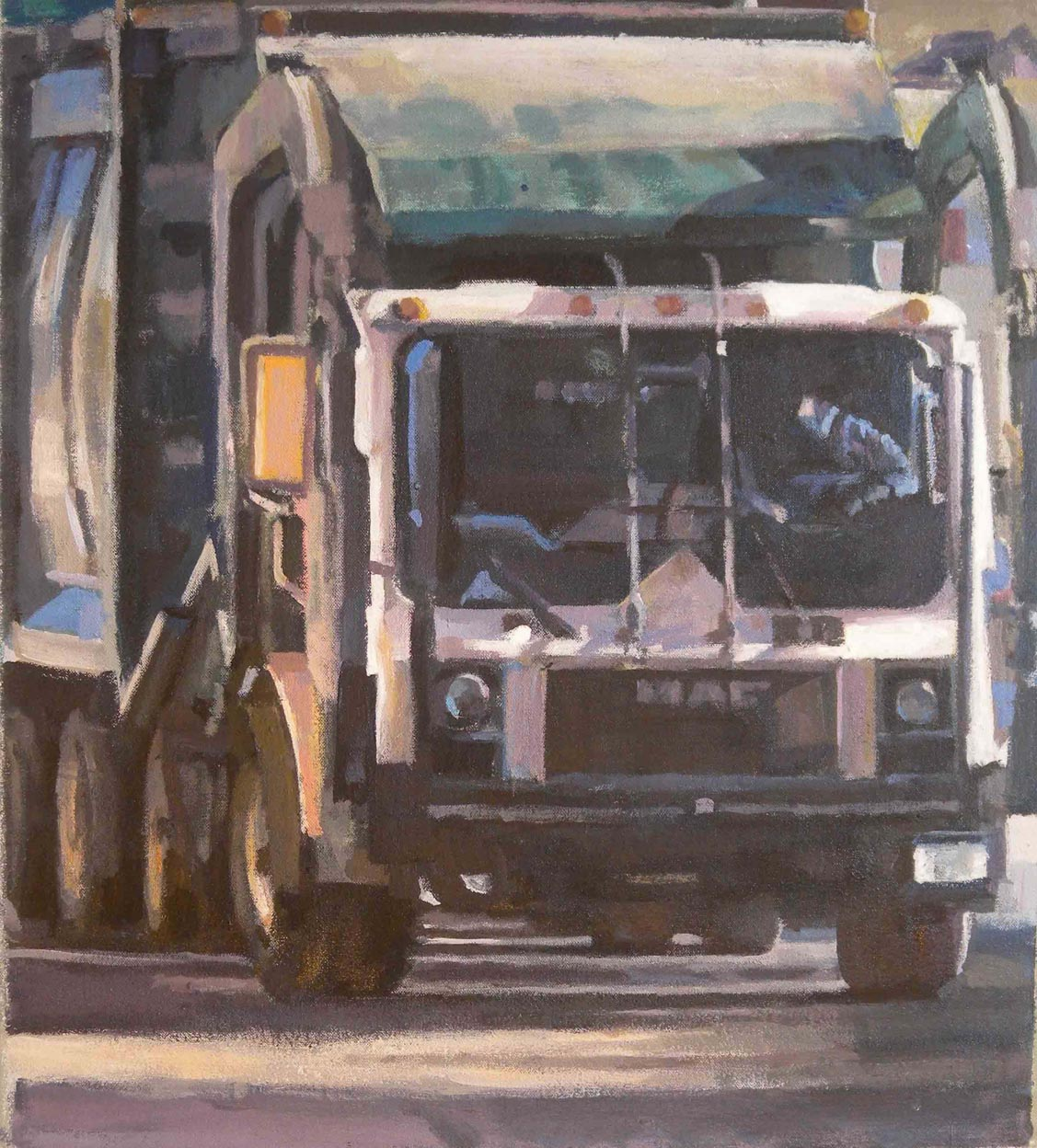 "Green Trash Truck Driver,acrylic on canvas,20 1/2"" x 18 1/4"""