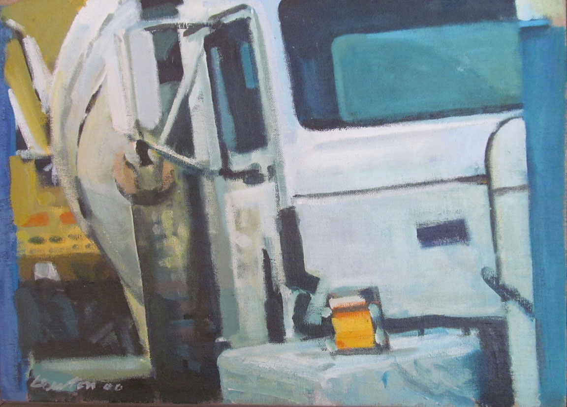 """White Cement Truck,acrylic on canvas,13 1/2"""" x 18 1/2"""", 2000"""