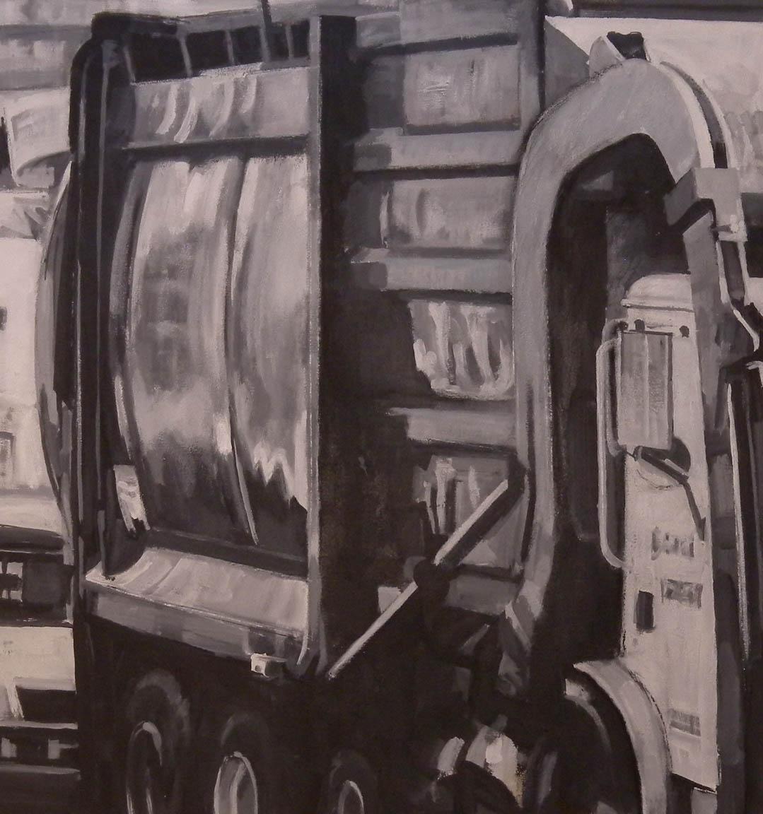 """B&W Trash Truck,acrylic on canvas, 42"""" x 99"""""""