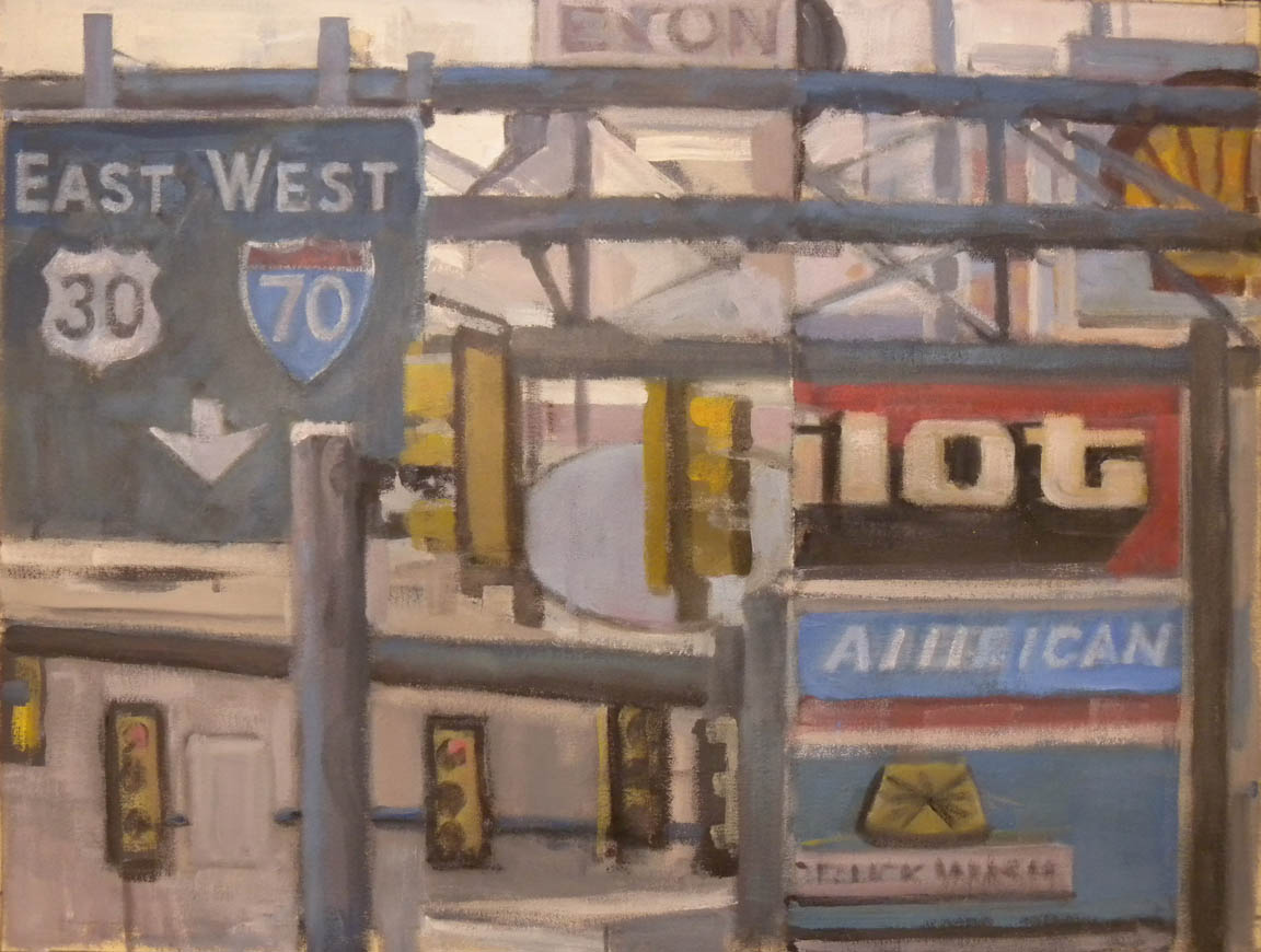 """Breezewood Truck Stop #5, acrylic on canvas, 21 1/2"""" x 28"""", 2011"""