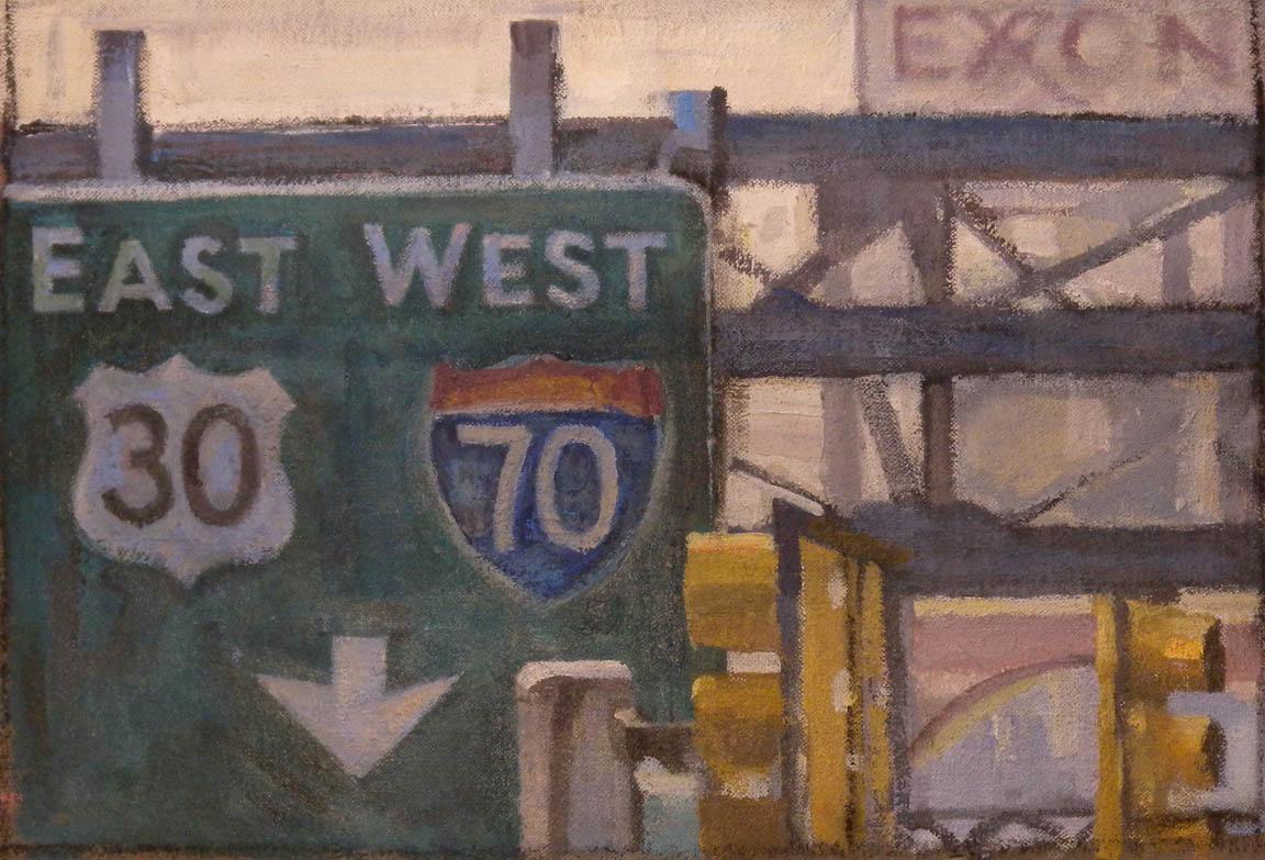 "Breezewood East West Truck Stop #3, acrylic on canvas ,11 1/2"" x 17"", 2011"