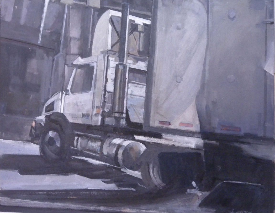 """White Truck, Tunnel, acrylic on canvas,28 1/2"""" x 36"""", 2014"""