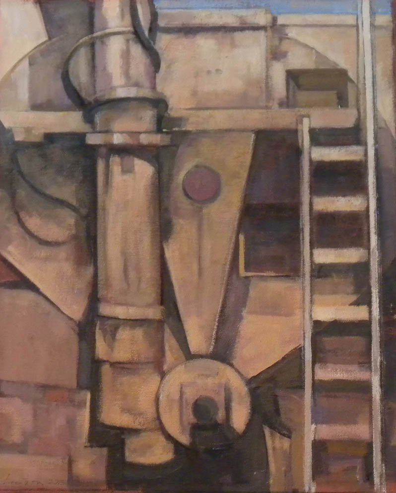 """Rose, back of cement truck, acrylic on canvas,19 1/2"""" x 16"""""""