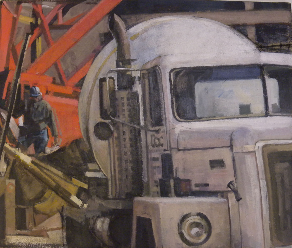 """White Truck with Figure, acrylic on canvas,26 1/2"""" x 31 1/2"""""""