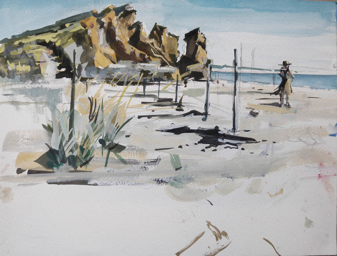 "Zach's Beach after the Hurricane, watercolor on paper, 9"" x 12"", 2013"