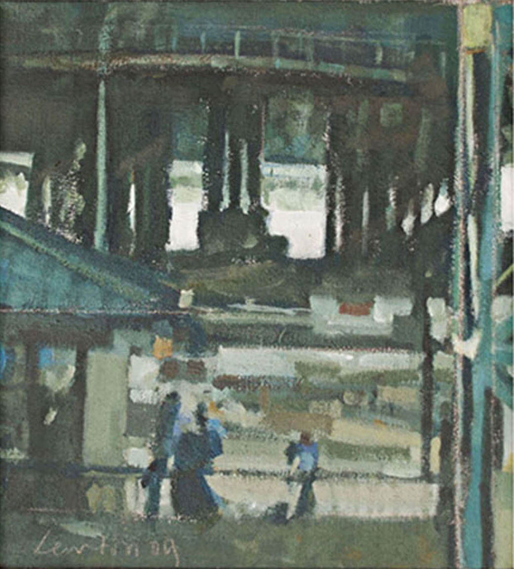 "Whitby Island Ferry Terminal Dock, acrylic on canvas, 12"" x 11"", 2009"