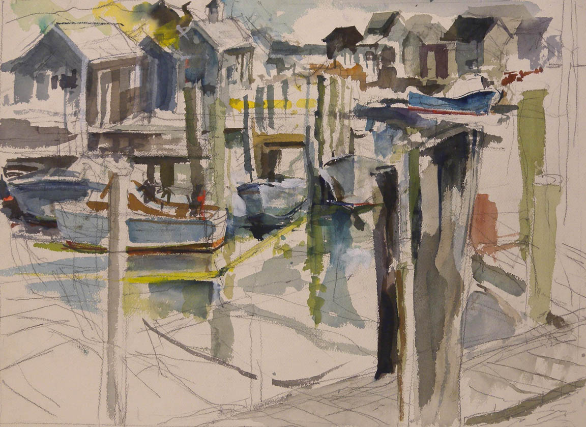 "Avon NC View of Docks, watercolor on paper, 17"" x 23"""