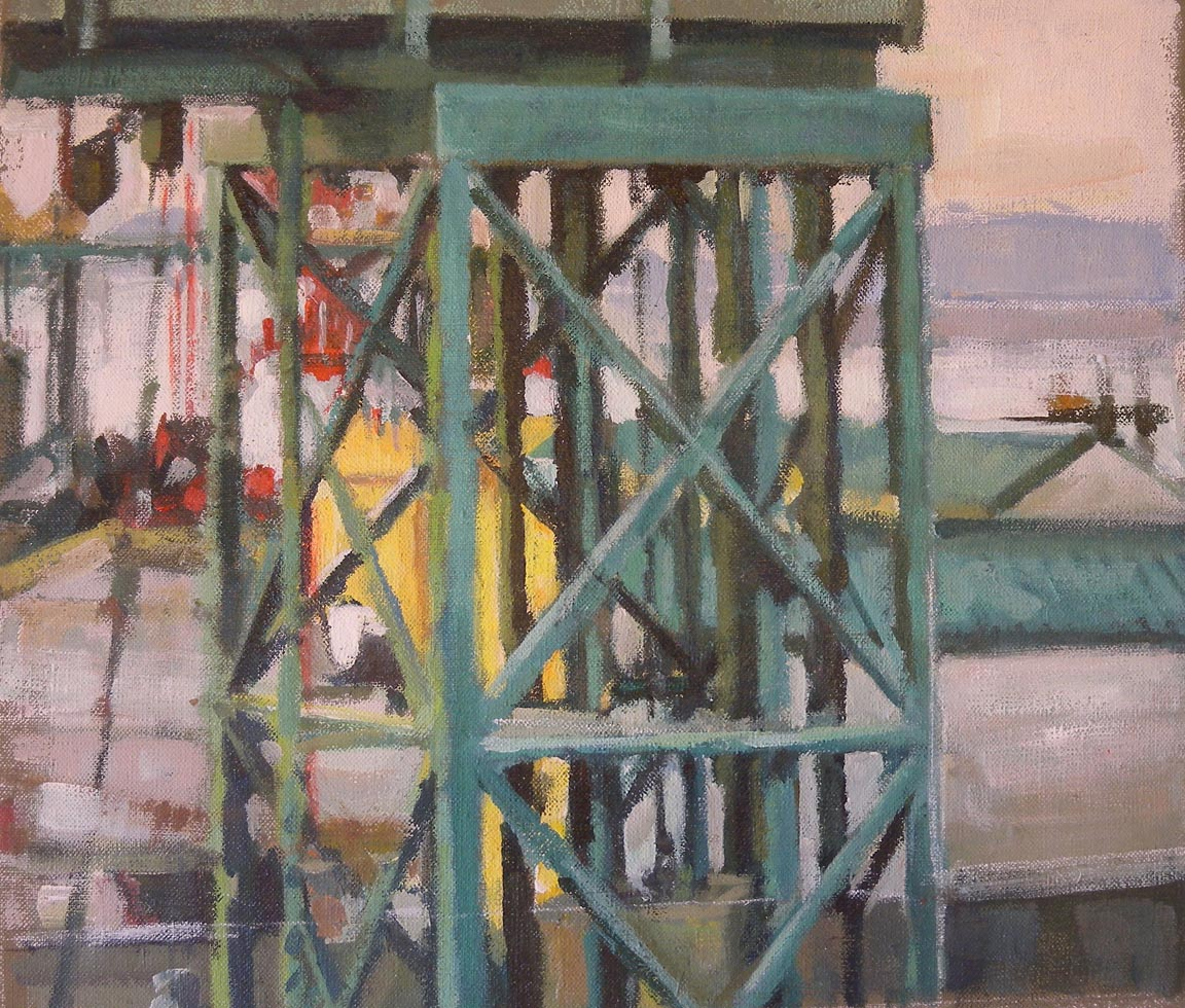 "Ferry Terminal San Juan Islands (NW), acrylic on canvas, 12 1/2"" x 17 3/4"""