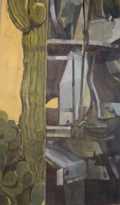 "Cactus Split, Machine #1, acrylic on canvas, 40"" x 23 1/4"""