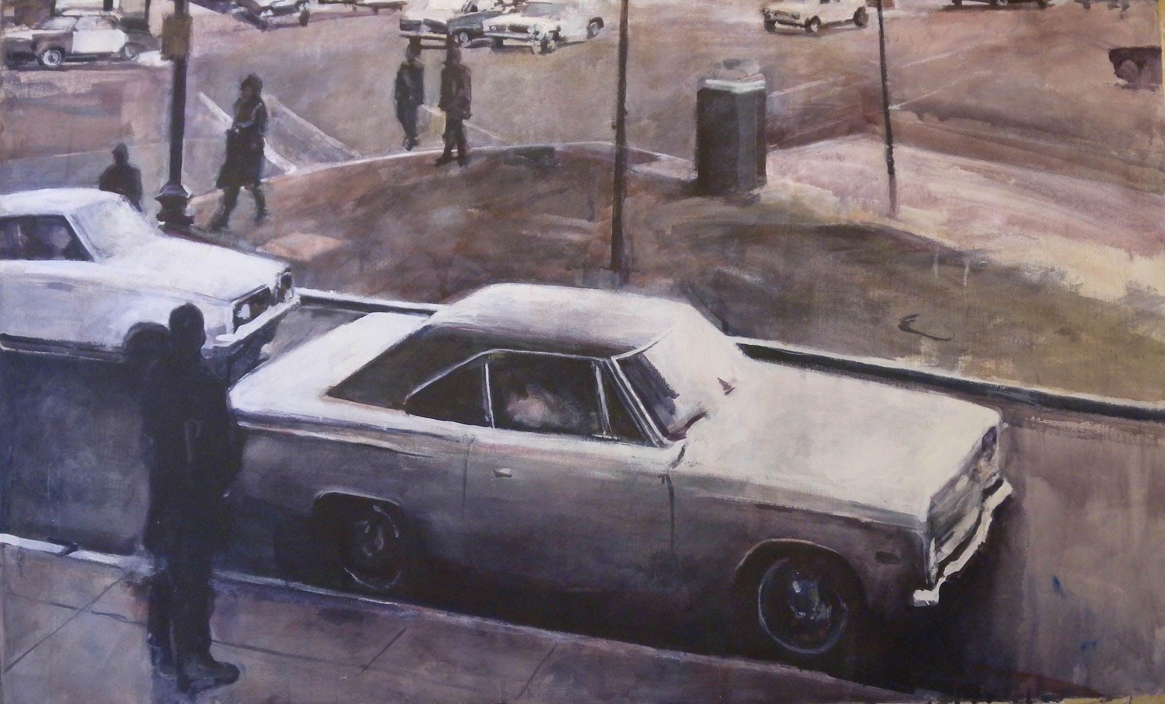 "Traffic Pedestrians, stained canvas, 37 3/4"" x 63 1/4"""