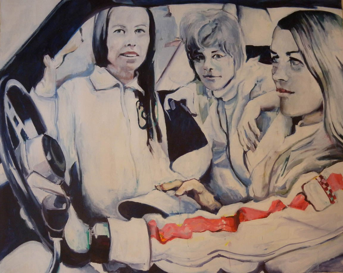 """Ladies Day, Janet Gutherie & Friends, stained canvas, 39 3/4"""" x 49 1/4"""""""