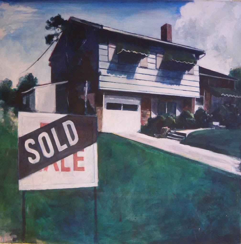 """Suburban """"Sold"""", stained canvas, 39 1/2"""" x 39 1/2"""", 1972"""