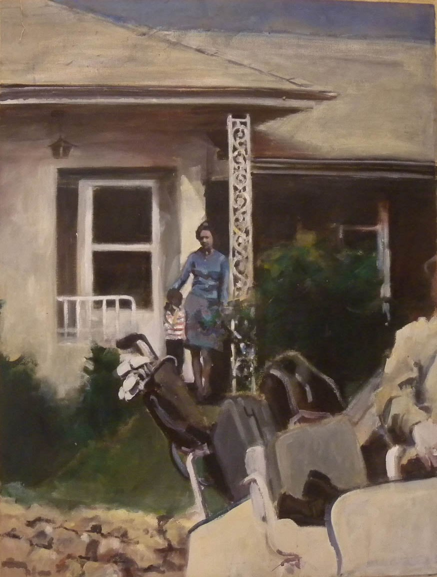 "Dad's Golf Day, acrylic on canvas, 47 1/2"" x 36"""