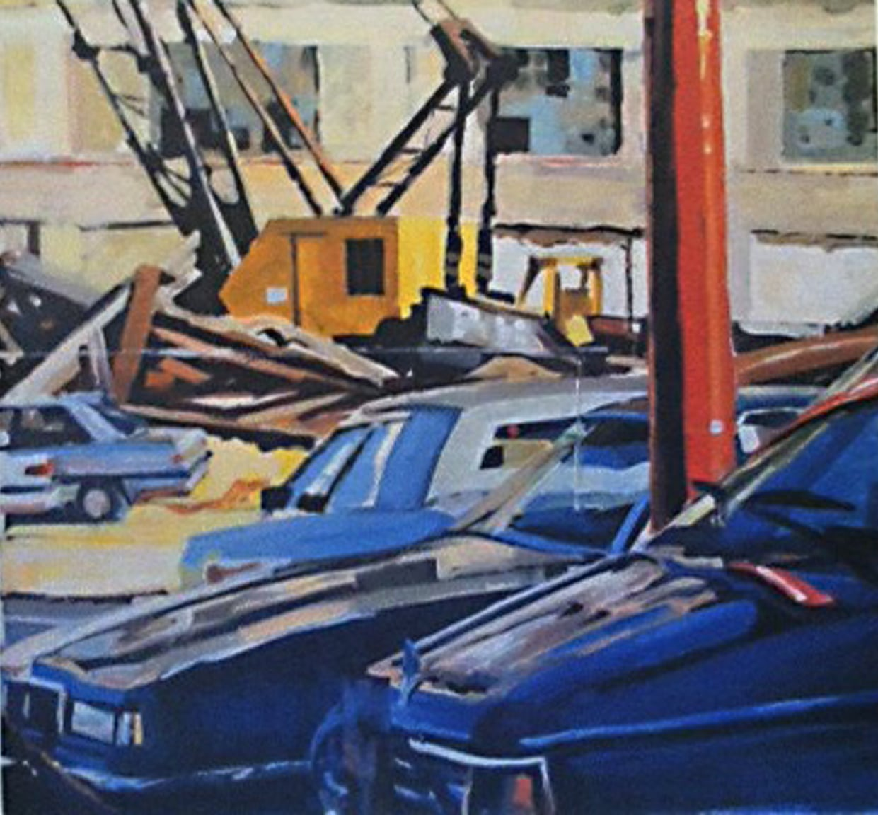 "Cars, Yellow Crane & Demolition, acrylic on paper, 28"" x 36"", 1990"