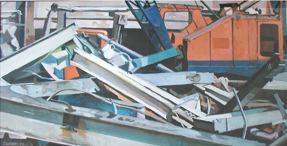 "Bergman's Laundry Orange Crane & Demolition, acrylic on canvas, 30 1/2"" x 60"", 1986, DC Commission on the Arts and Humanities Collection"