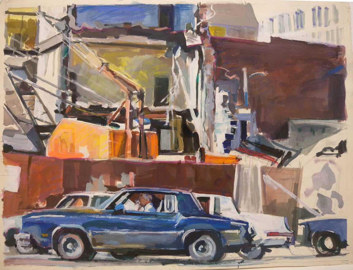"""Demolition and Cars, DC, acrylic on paper, 18 1/2"""" x 25""""                                Private Collection"""