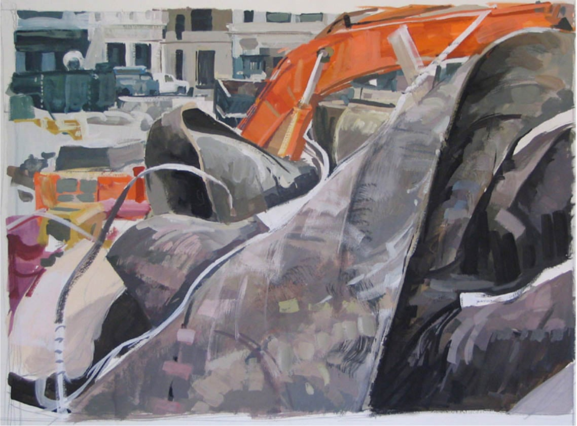 """Convention Center Site, acrylic on museum board, 18"""" x 26"""", 2008, DC Commission on the Arts and Humanities Collection"""