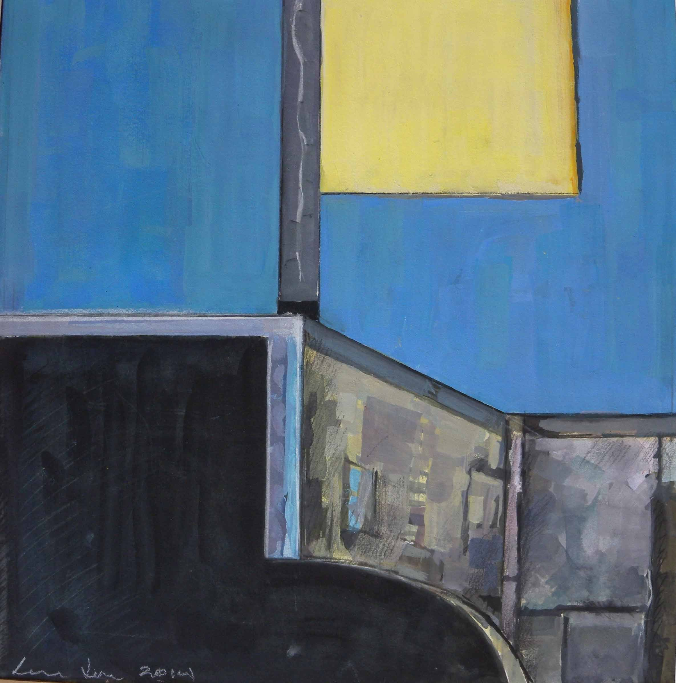 """Bee Bee Roof Furniture #2 (blue),acrylic on canvas, 21 1/2"""" x 19"""""""
