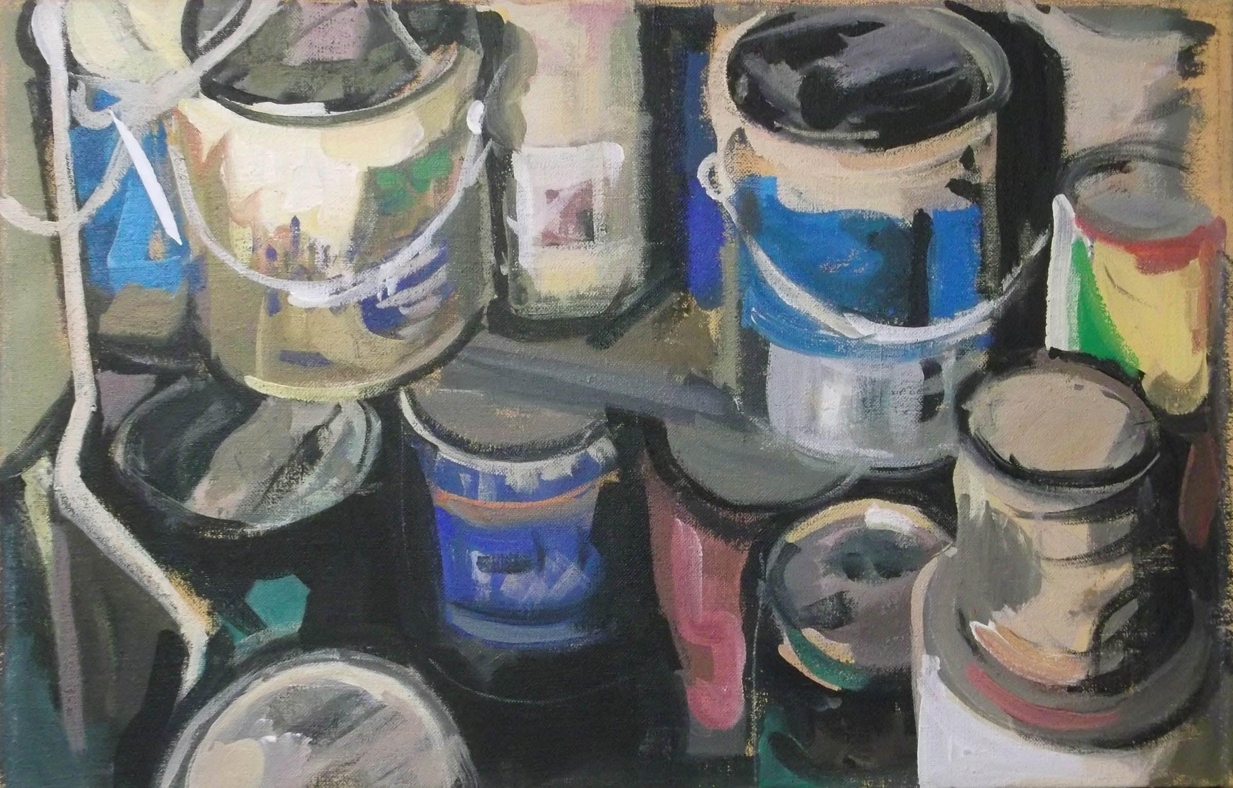 "Paint Cans Jumbled, acrylic on canvas, 13 1/2"" x 21 1/4"""