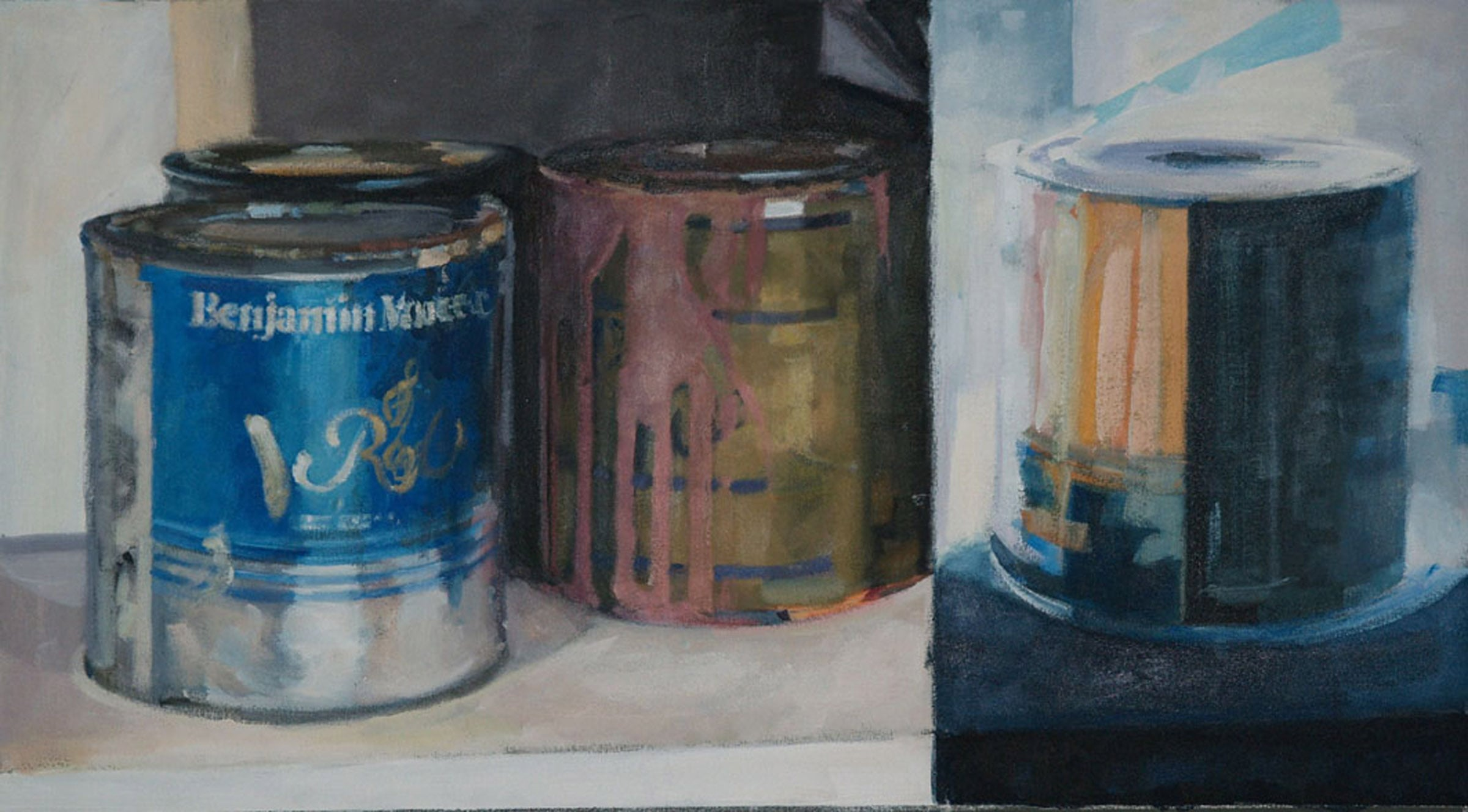 "Paint Can Split Yin Yang, acrylic on canvas, 21"" x 38"", 2007"