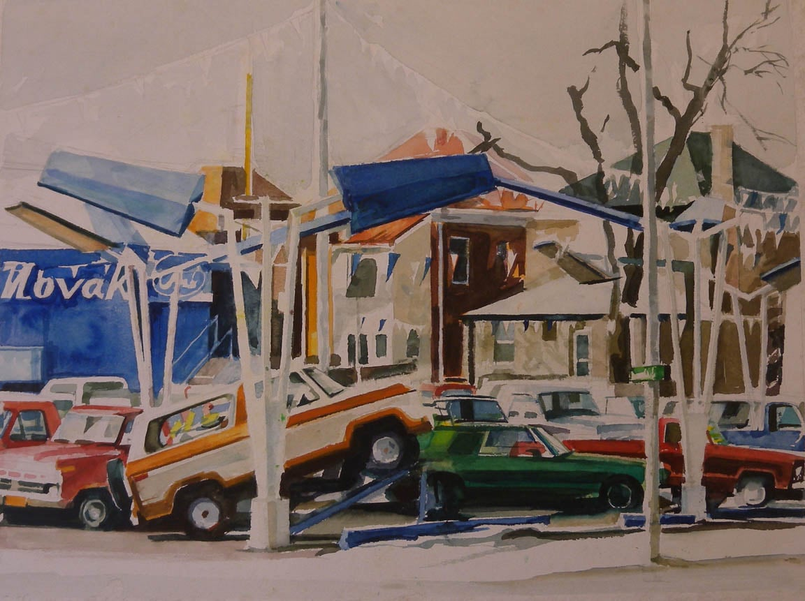"Novak Car Lot (unfinished), watercolor on paper, 15"" x 20"""