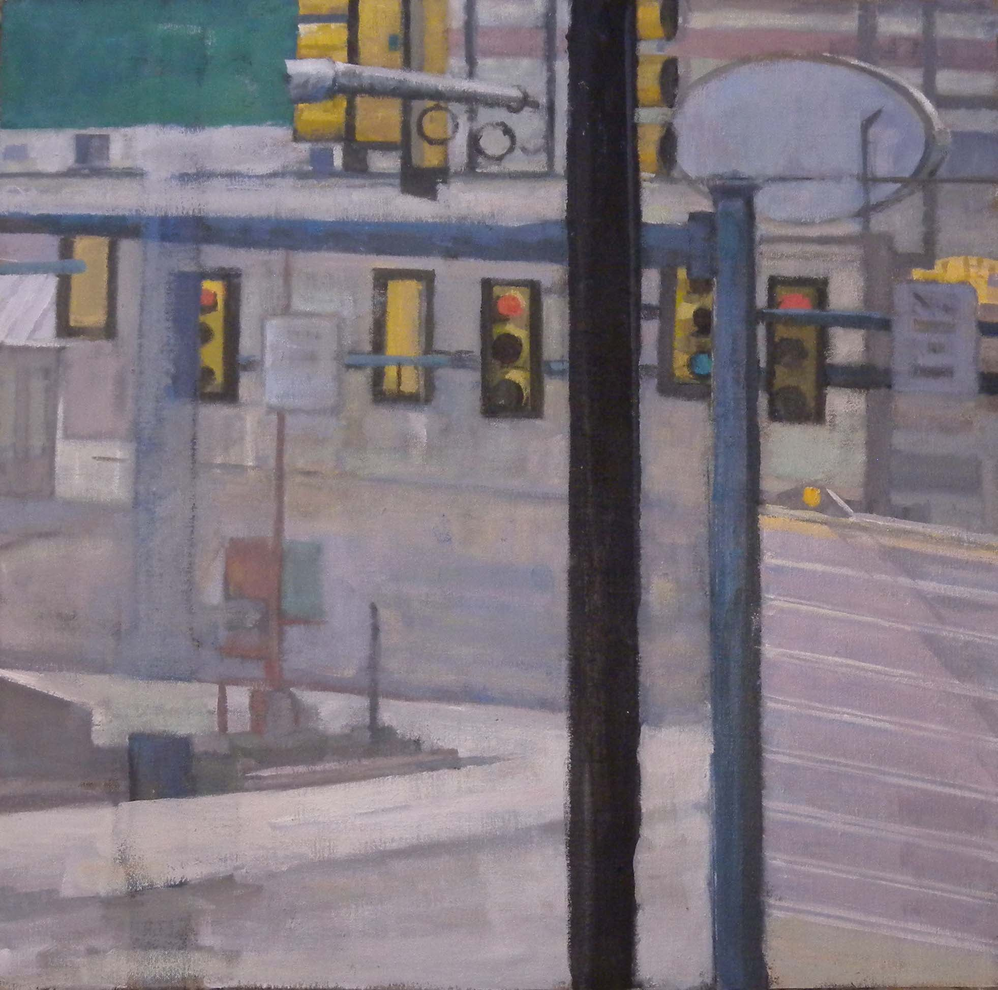 """Breezewood Traffic Lights, acrylic on canvas, 26"""" x 26 1/2"""", 2014            Federal Reserve Board Collection, Washington, DC"""