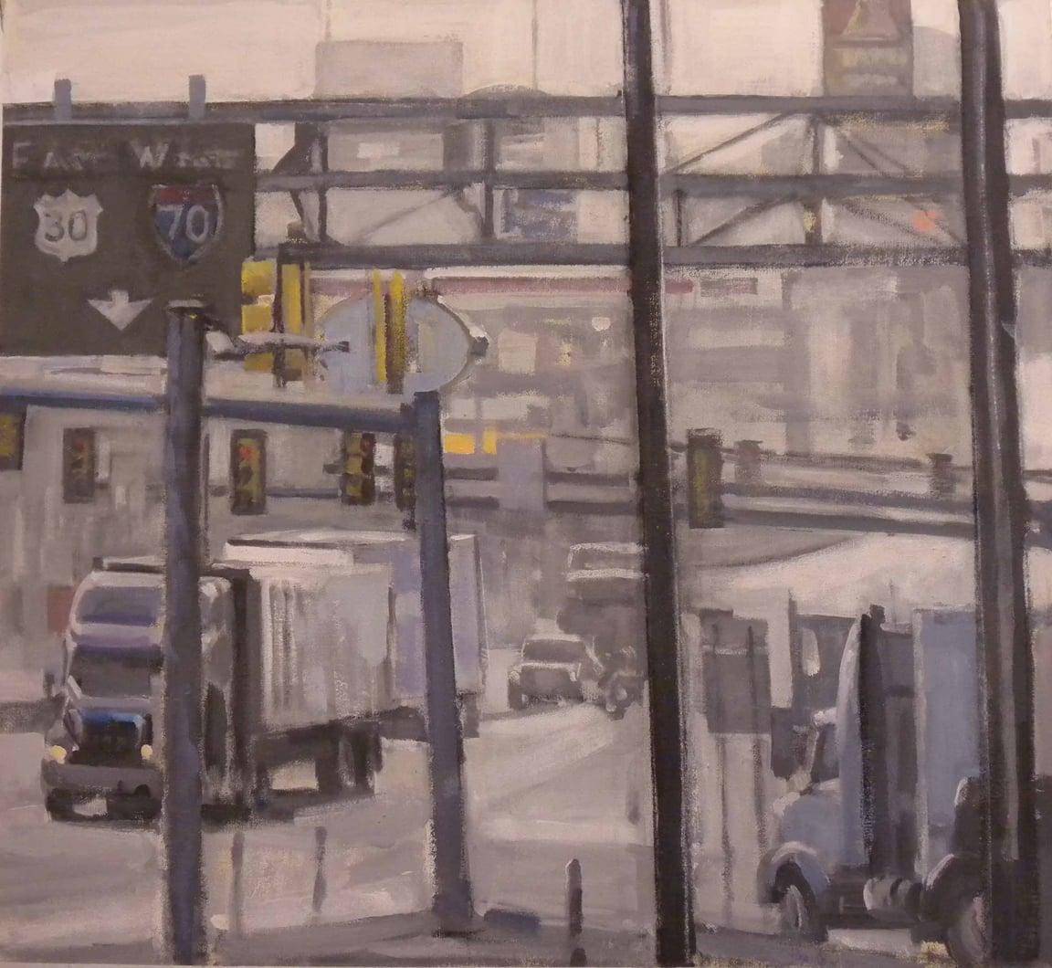 "Breezewood East West Truck Stop #2, acrylic on canvas,30"" x 32 1/2"", 2011. UNC Ashland Museum of Art."