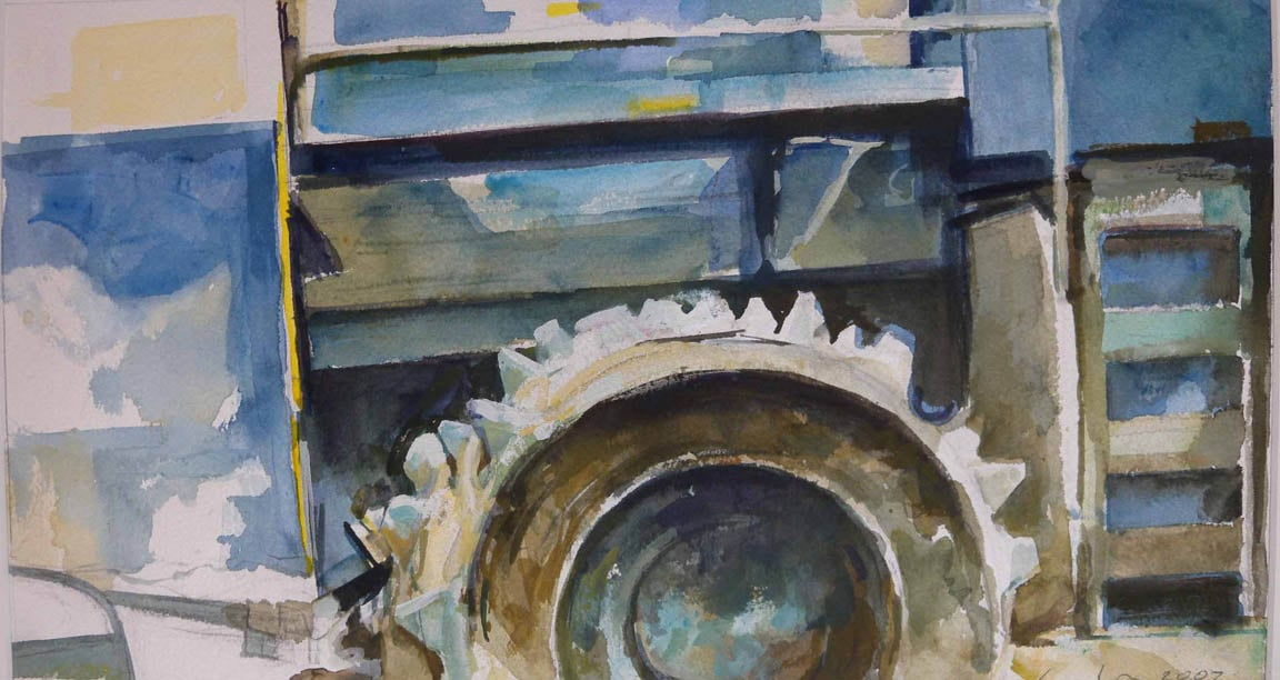 """Landfill Tractor, detail,watercolor on paper,10"""" x 18"""", 2007"""