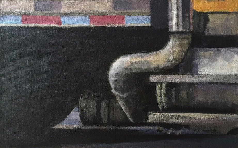 "Under Carriage, acrylic on canvas, 10 1/4"" x 16 1/2"", 2014"