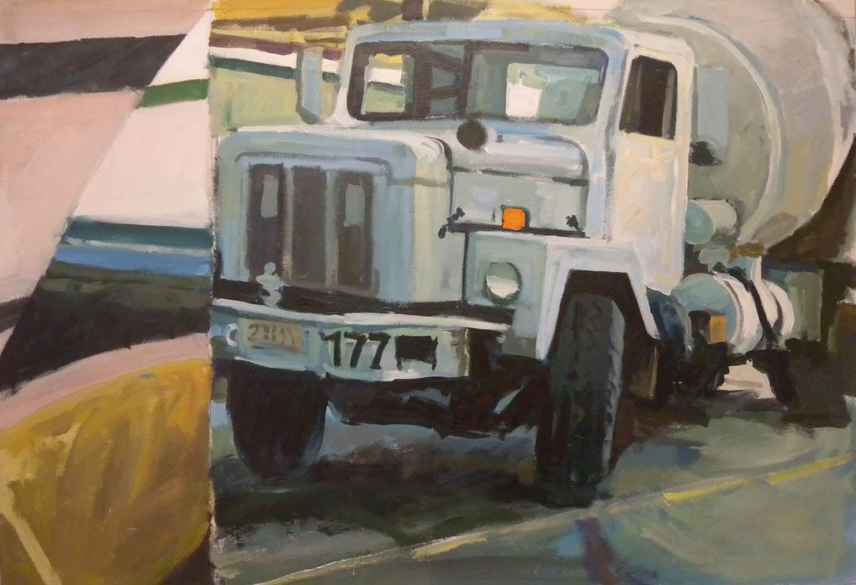 "White Cement Truck 177 Split, acrylic on canvas,35"" x 51"""