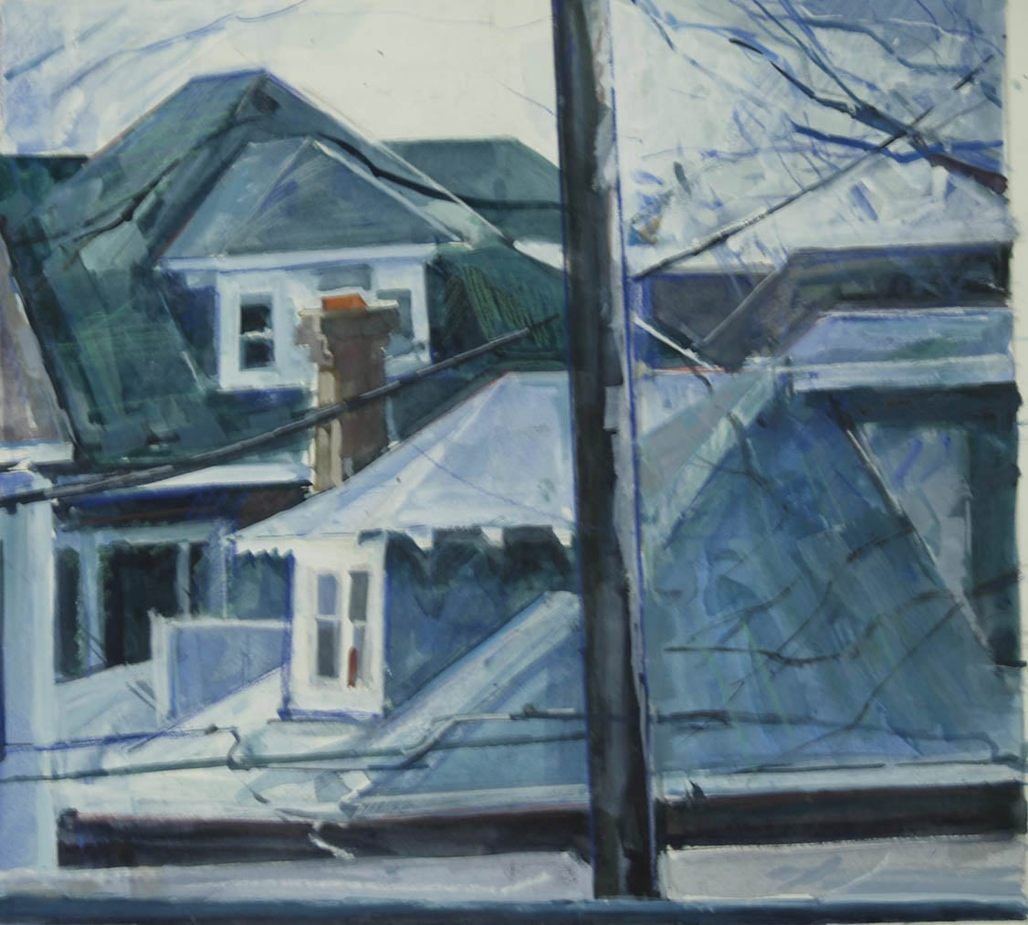 """Brightwood Rooftops 1,gouache on museum board,13"""" x 12 1/2"""", 2012"""