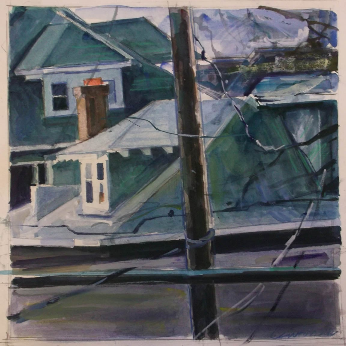 """Brightwood Rooftop 3,gouache on museum board,14"""" x 14"""", 2012 On Exhibit, Addison/Ripley Fine Art, DC"""